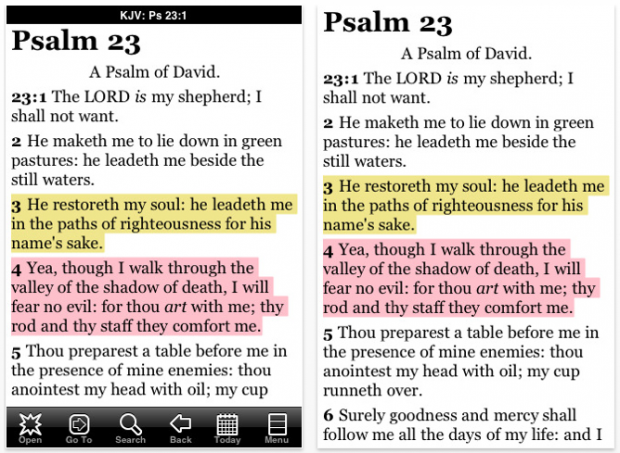 Screenshot of PocketBible from ChurchMag
